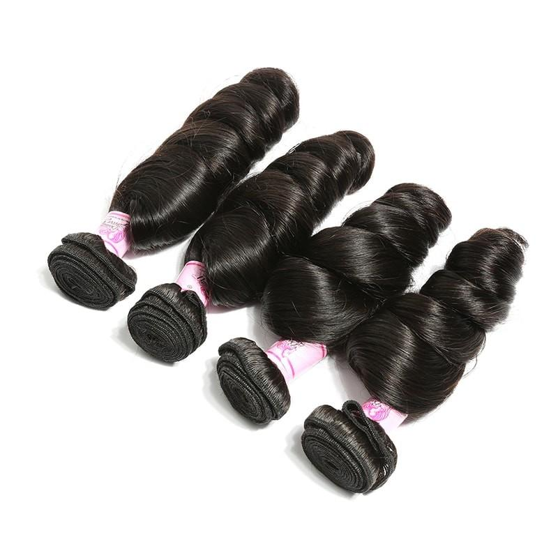 Brazilian Virgin Hair Weave 4 Bundles Loose Wave Hair 100% Human Hair