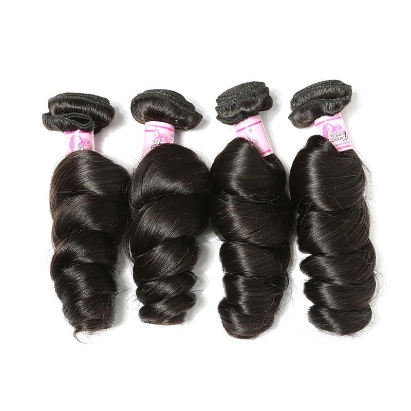 Malaysian Hair 4 Bundles with Lace Closure Loose Wave Hair 100% Human Hair