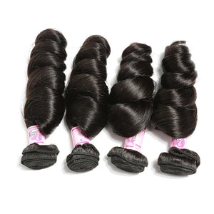 Indian Hair 4 Bundles with Lace Closure Loose Wave Hair 100% Human Hair