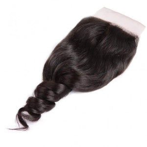 Peruvian Hair 4 Bundles with Lace Closure Loose Wave Hair 100% Human Hair
