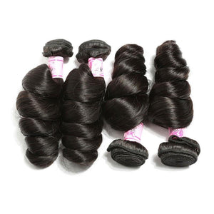Indian Hair 4 Bundles with Lace Frontal Loose Wave Hair 100% Human Hair