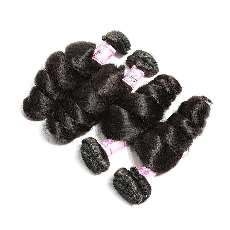 Brazilian Hair 4 Bundles with Lace Frontal Loose Wave Hair 100% Human Hair