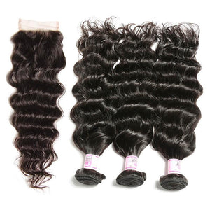 Malaysian Hair 3 Bundles with Lace Closure Natural Wave Hair 100% Human Hair