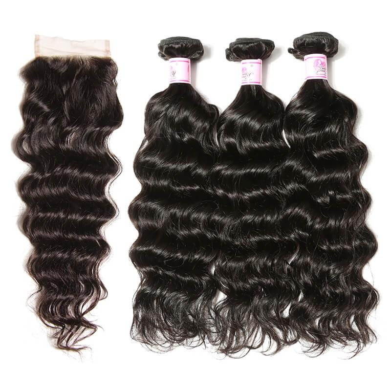 Peruvian Hair 3 Bundles with Lace Closure Natural Wave Hair 100% Human Hair