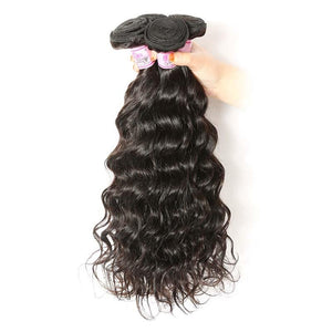 Malaysian Hair 3 Bundles with Lace Frontal Natural Wave Hair 100% Human Hair