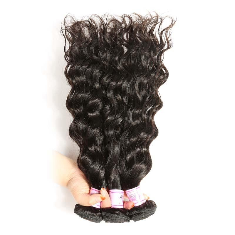 Indian Hair 3 Bundles with Lace Frontal Natural Wave Hair 100% Human Hair