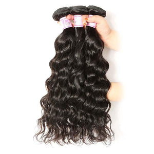 Brazilian Hair 3 Bundles with Lace Frontal Natural Wave Hair 100% Human Hair
