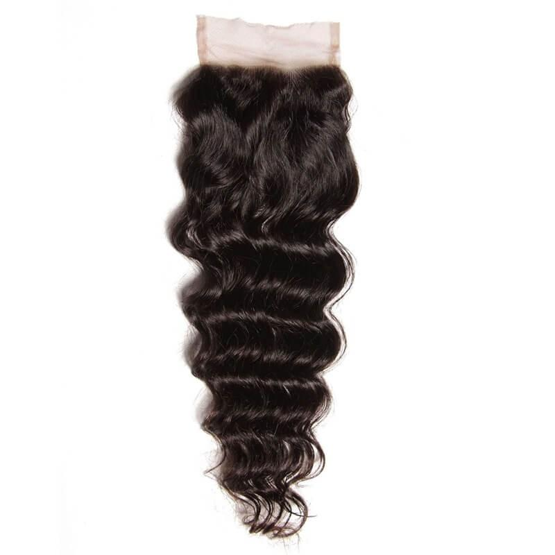 Malaysian Hair 4 Bundles with Lace Closure Natural Wave Hair 100% Human Hair