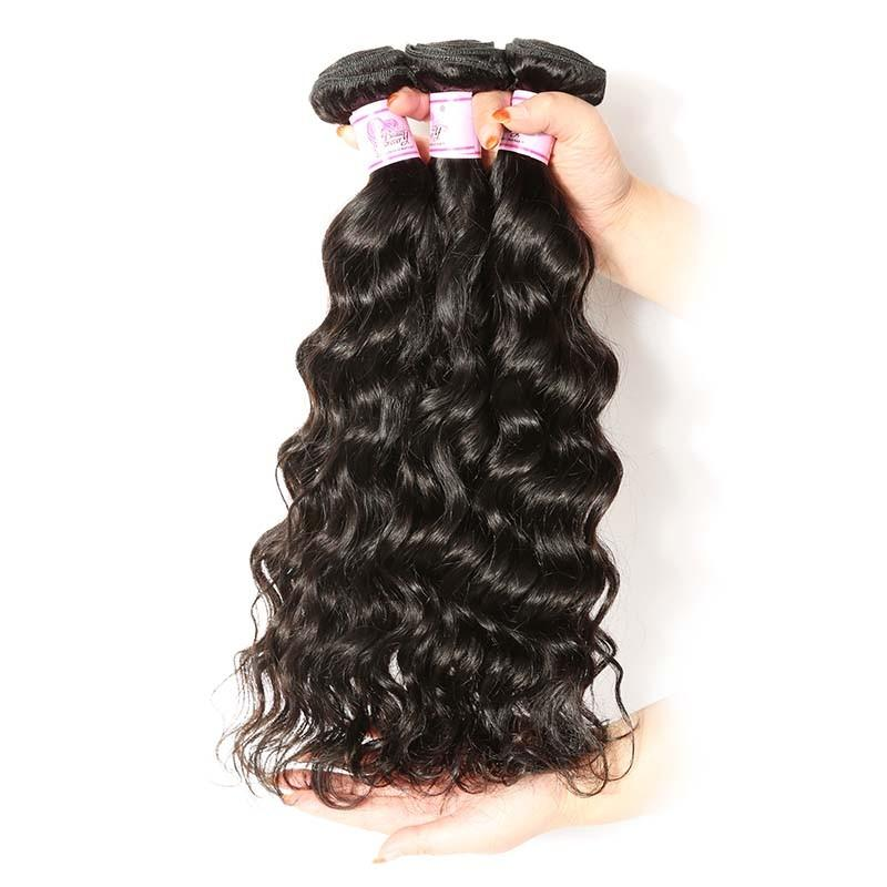 Brazilian Hair 4 Bundles with Lace Frontal Natural Wave Hair 100% Human Hair