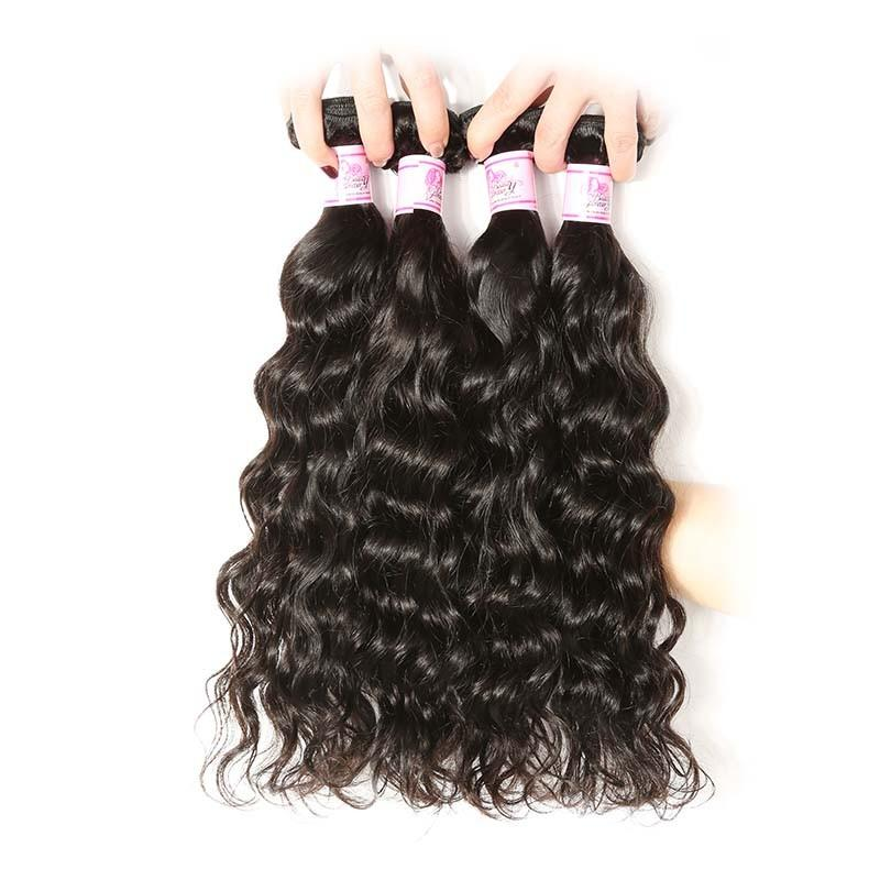 Malaysian Hair 4 Bundles with Lace Frontal Natural Wave Hair 100% Human Hair