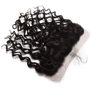Indian Hair 4 Bundles with Lace Frontal Natural Wave Hair 100% Human Hair