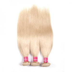 Virgin Hair 3 Bundles Straight Human Hair (#613 Blonde)