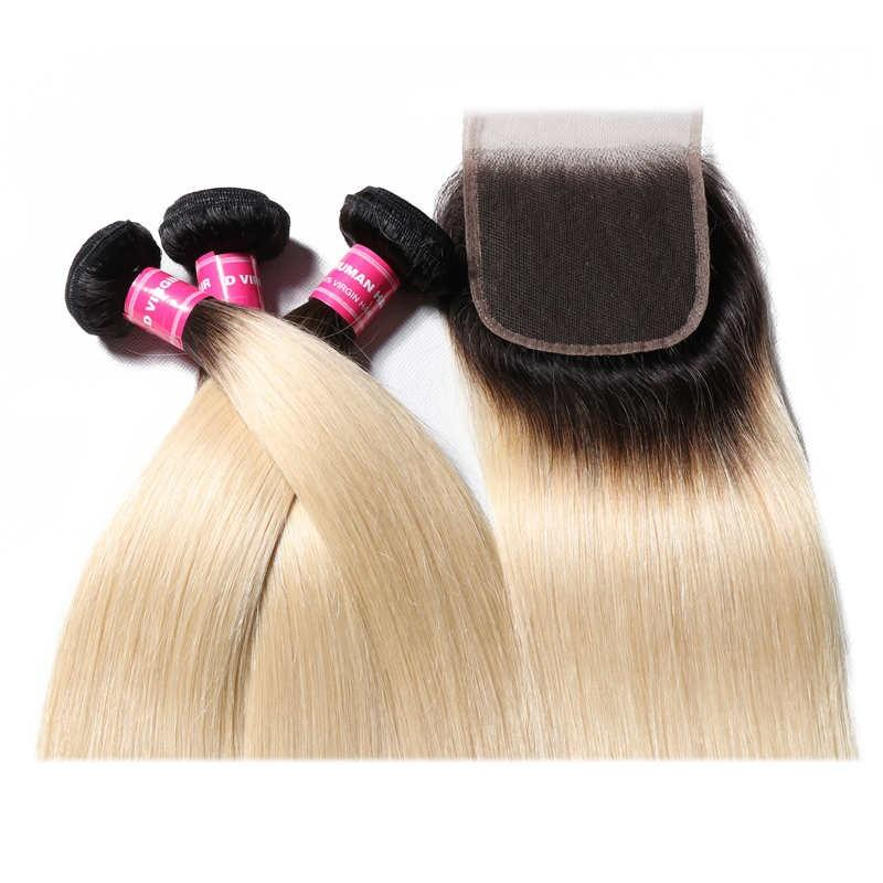 Virgin Hair 3 Bundles with Lace Closure Straight Hair (#1B/613 Bleach Blonde)