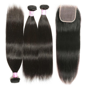 Brazilian Hair 3 Bundles with Lace Closure Straight Hair 100% Human Hair