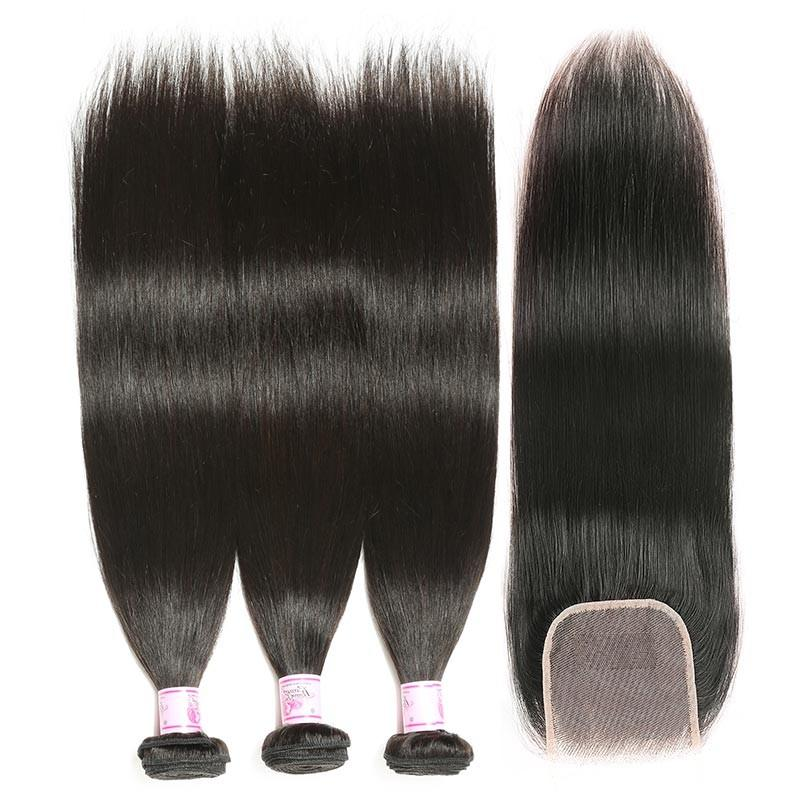 Malaysian Hair 3 Bundles with Lace Closure Straight Hair 100% Human Hair