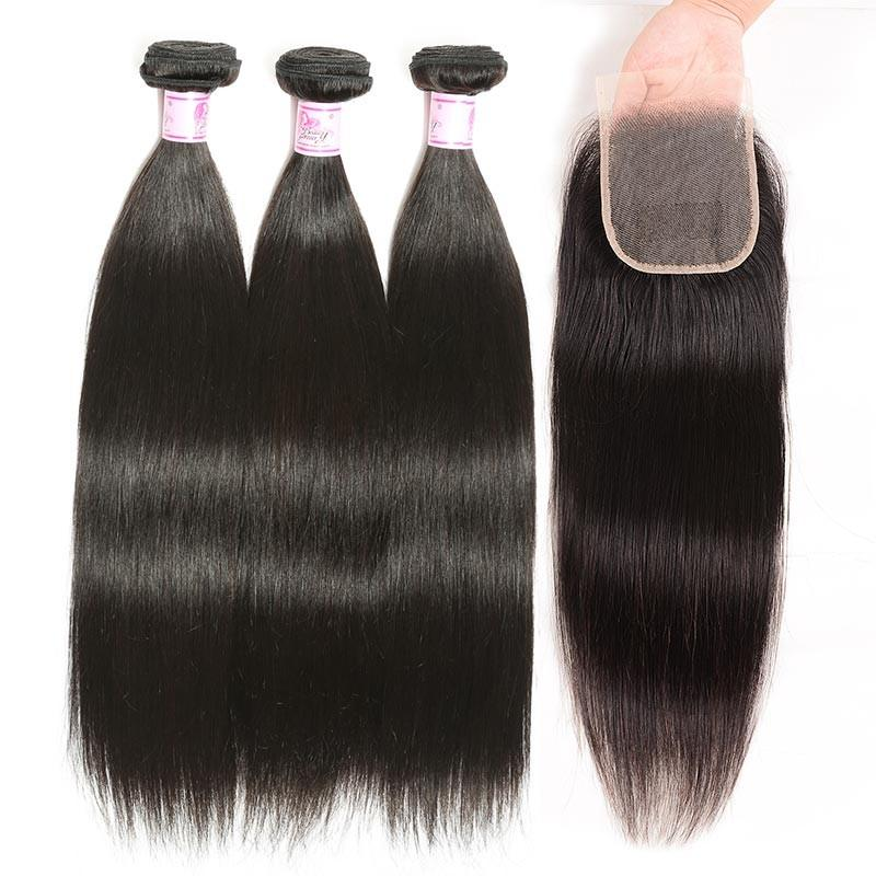 Indian Hair 3 Bundles with Lace Closure Straight Hair 100% Human Hair