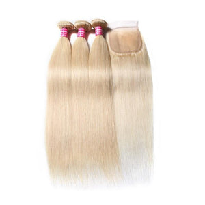 Virgin Hair 3 Bundles with Lace Closure Straight Hair (#613 Blonde)