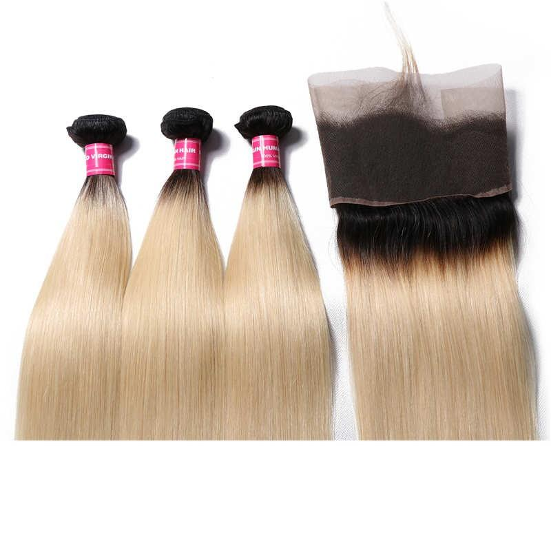 Virgin Hair 3 Bundles with Lace Frontal Straight Hair (#1B/613 Blonde)