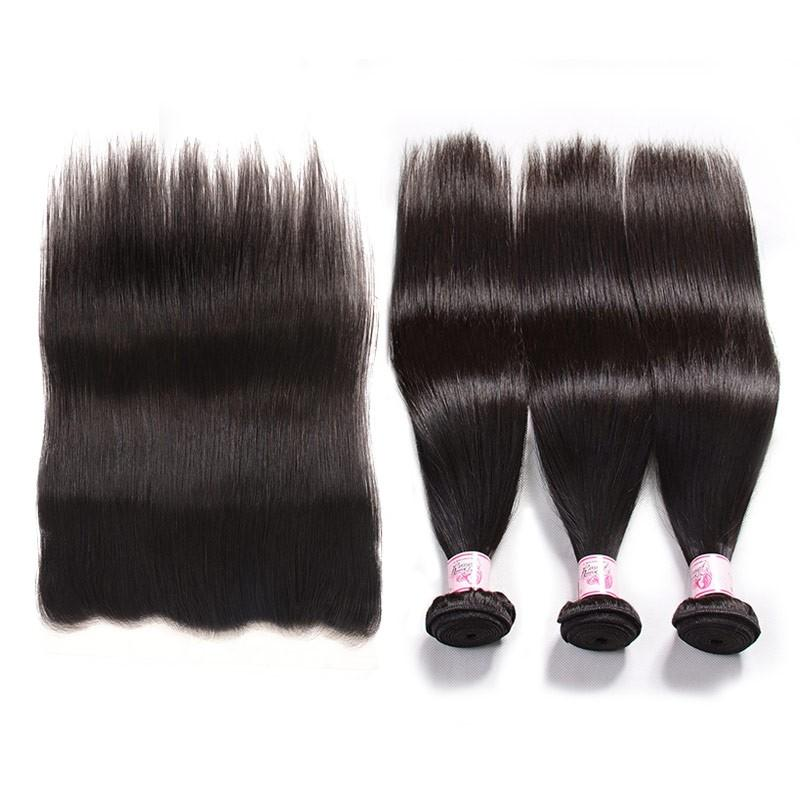 Brazilian Hair 3 Bundles with Lace Frontal Straight Hair 100% Human Hair