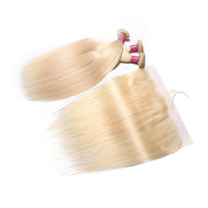 Virgin Hair 3 Bundles with Lace Frontal Straight Hair (#613 Blonde)