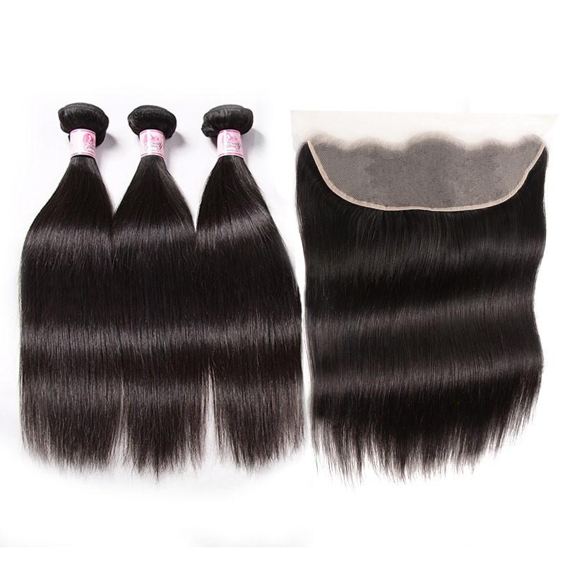 Indian Hair 3 Bundles with Lace Frontal Straight Hair 100% Human Hair