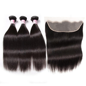 Malaysian Hair 3 Bundles with Lace Frontal Straight Hair 100% Human Hair