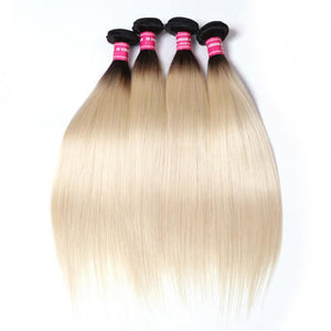 Virgin Hair 4 Bundles Straight Human Hair (#1B/613 Blonde)