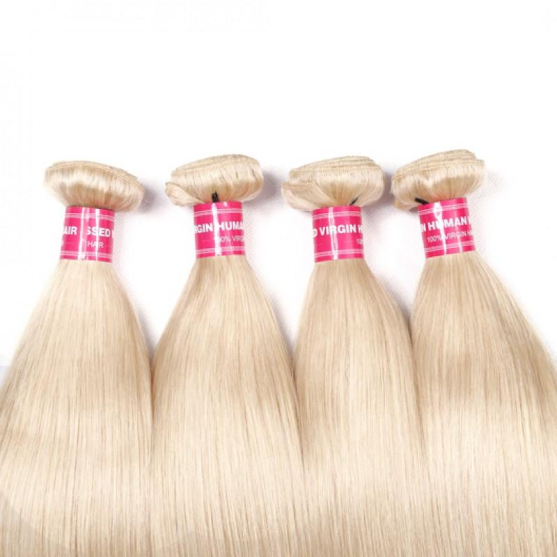 Virgin Hair 4 Bundles Straight Human Hair (#613 Blonde)