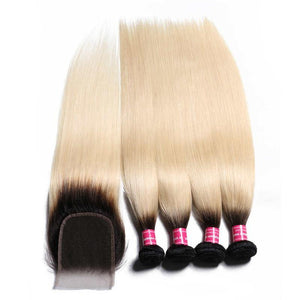 Virgin Hair 4 Bundles with Lace Closure Straight Hair (#1B/613 Blonde)