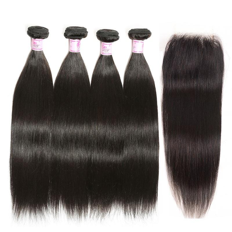 Peruvian Hair 4 Bundles with Lace Closure Straight Hair 100% Human Hair