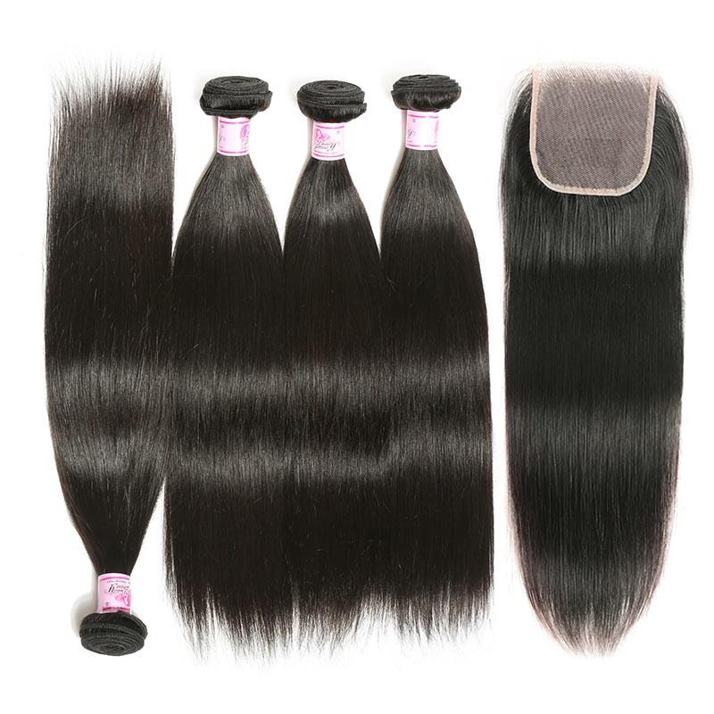 Malaysian Hair 4 Bundles with Lace Closure Straight Hair 100% Human Hair