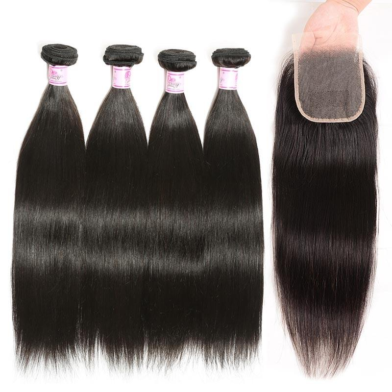 Brazilian Hair 4 Bundles with Lace Closure Straight Hair 100% Human Hair