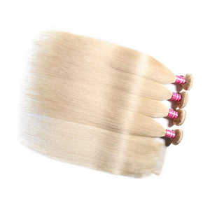 Virgin Hair 4 Bundles with Lace Closure Straight Hair (#613 Blonde)