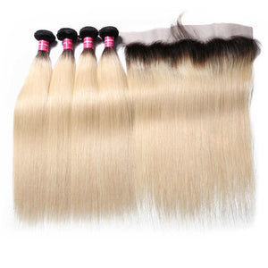 Virgin Hair 4 Bundles with Lace Frontal Straight Hair (#1B/613 Blonde)