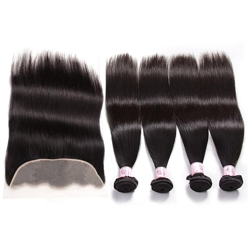 Brazilian Hair 4 Bundles with Lace Frontal Straight Hair 100% Human Hair