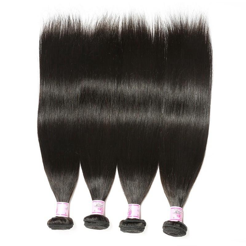 Peruvian Hair 4 Bundles with Lace Frontal Straight Hair 100% Human Hair