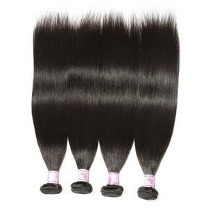 Indian Hair 4 Bundles with Lace Frontal Straight Hair 100% Human Hair