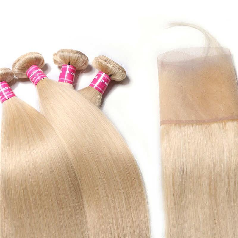 Virgin Hair 4 Bundles with Lace Frontal Straight Hair (#613 Blonde)