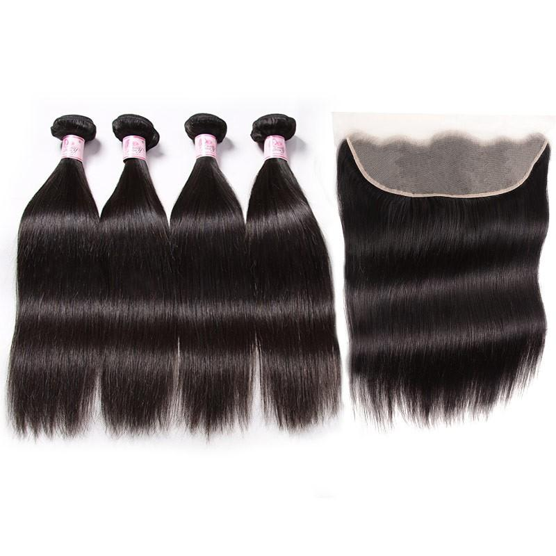 Malaysian Hair 4 Bundles with Lace Frontal Straight Hair 100% Human Hair