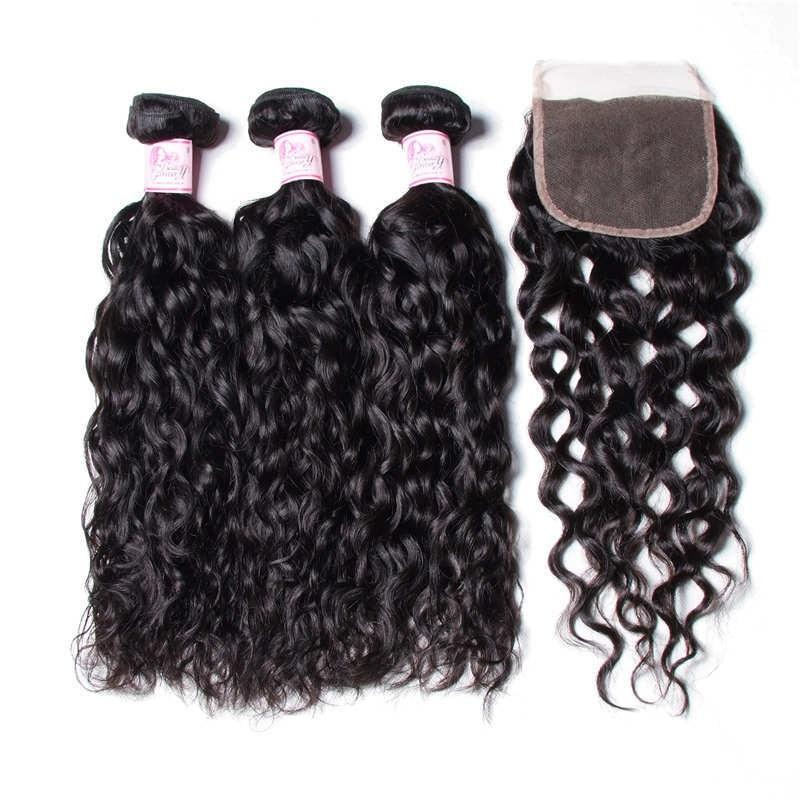 Brazilian Hair 3 Bundles with Lace Closure Water Wave Hair 100% Human Hair