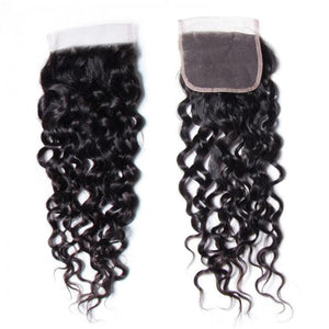 Peruvian Hair 3 Bundles with Lace Closure Water Wave Hair 100% Human Hair