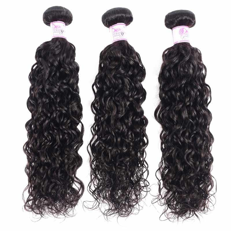 Malaysian Hair 3 Bundles with Lace Frontal Water Wave Hair 100% Human Hair