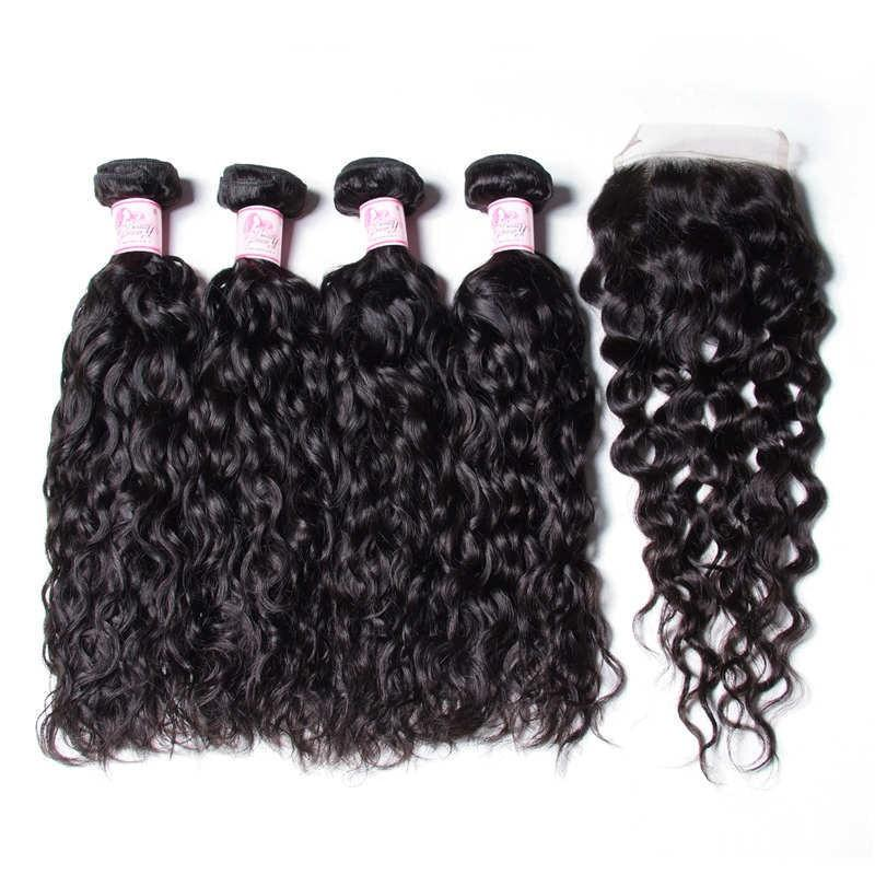 Brazilian Hair 4 Bundles with Lace Closure Water Wave Hair 100% Human Hair