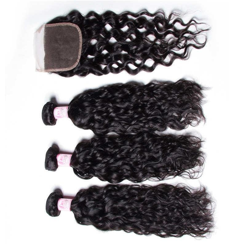 Peruvian Hair 4 Bundles with Lace Closure Water Wave Hair 100% Human Hair