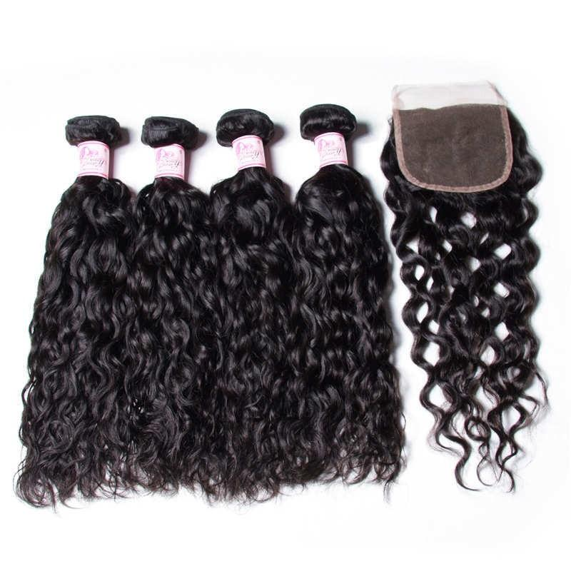Indian Hair 4 Bundles with Lace Closure Water Wave Hair 100% Human Hair