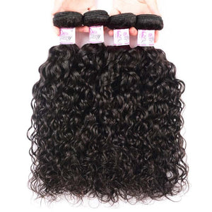 Peruvian Hair 4 Bundles with Lace Frontal Water Wave Hair 100% Human Hair