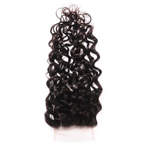 Virgin Hair Water Wave Lace Closure with Baby Hair (#1B Natural Black)
