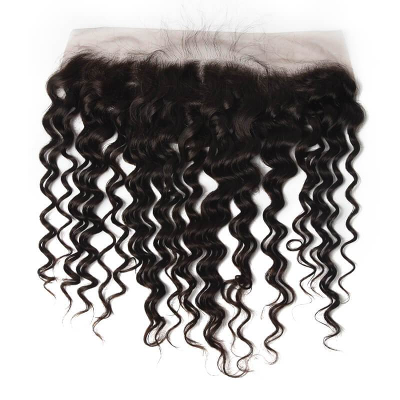 Virgin Hair Water Weave Lace Frontal with Baby Hair (#1B Natural Black)