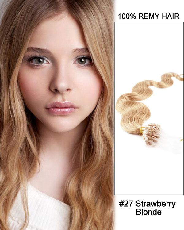 18 – 24 Inch Micro Loop Human Remy Hair Extensions Body Wave (#27 Strawberry Blonde)