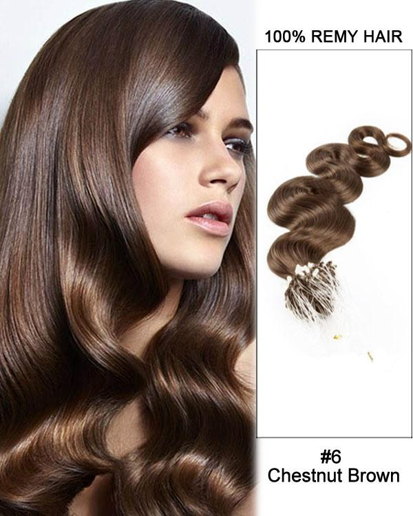 18 – 24 Inch Micro Loop Human Remy Hair Extensions Body Wave (#6 Light Brown)